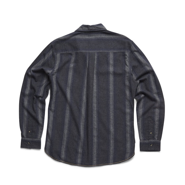 L/S Ombre Striped Shirt - Navy Heather