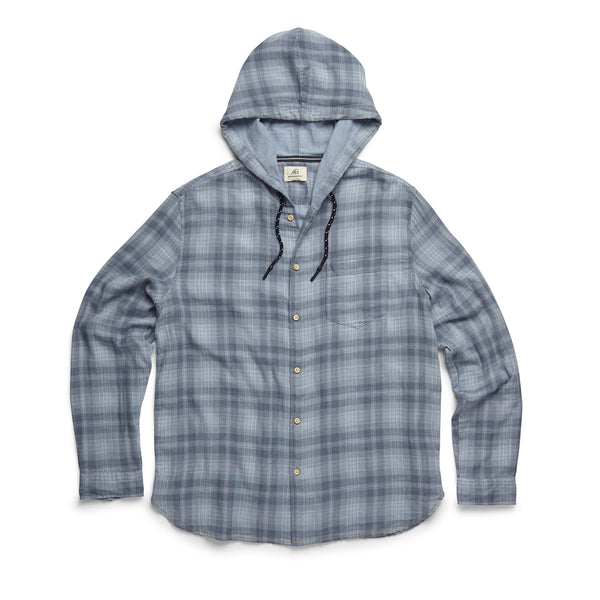 SHIRTS - L/S Plaid Double Gauze Hooded Shirt - Denim