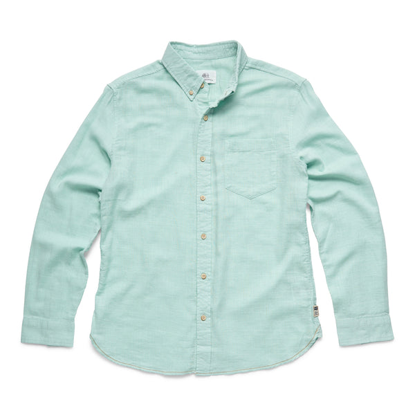 SHIRTS - L/S Slub Cotton Shirt - Aqua
