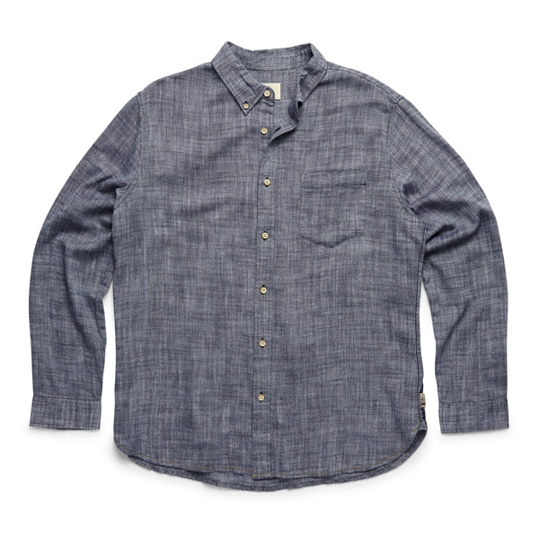 SHIRTS - L/S Slub Cotton Shirt - Navy Blazer