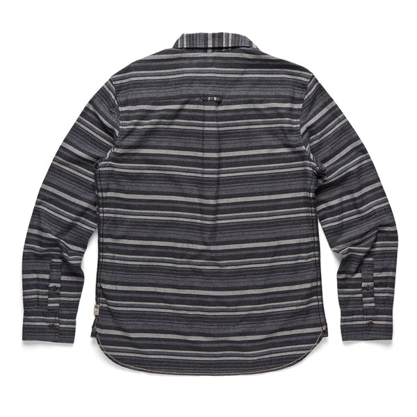 SHIRTS - L/S Tonal Stripe 1Pkt Shirt - Black Heather