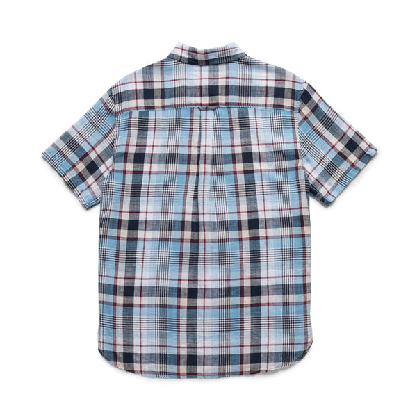 SHIRTS - S/S Cotton Plaid Slub Shirt - Blue Jay