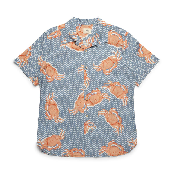 S/S Crab Print Camp Shirt - Peach