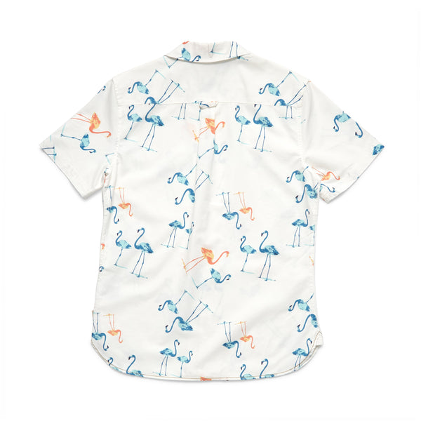 SHIRTS - S/S Flamingo Camp Shirt - White