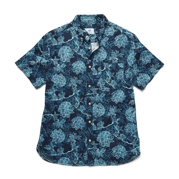 SHIRTS - S/S Floral Shirt - Navy