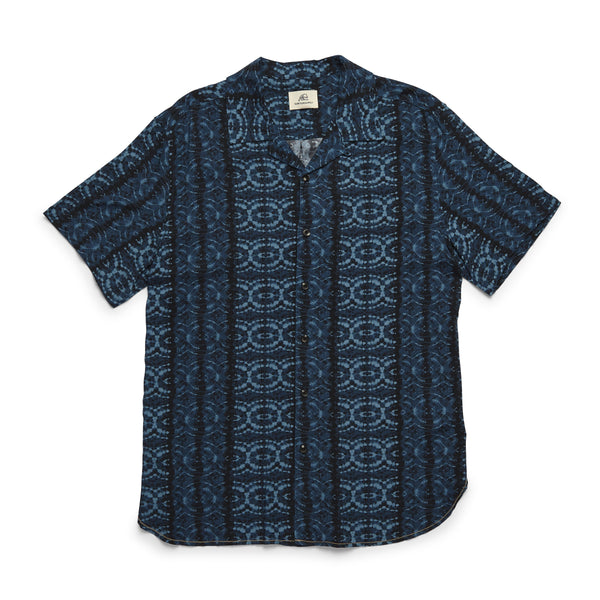 SHIRTS - S/S Ikat Camp Shirt - Indigo Blue