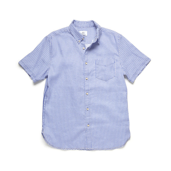 SHIRTS - S/S Linen Board Repeat Print Shirt - Dazzling Blue