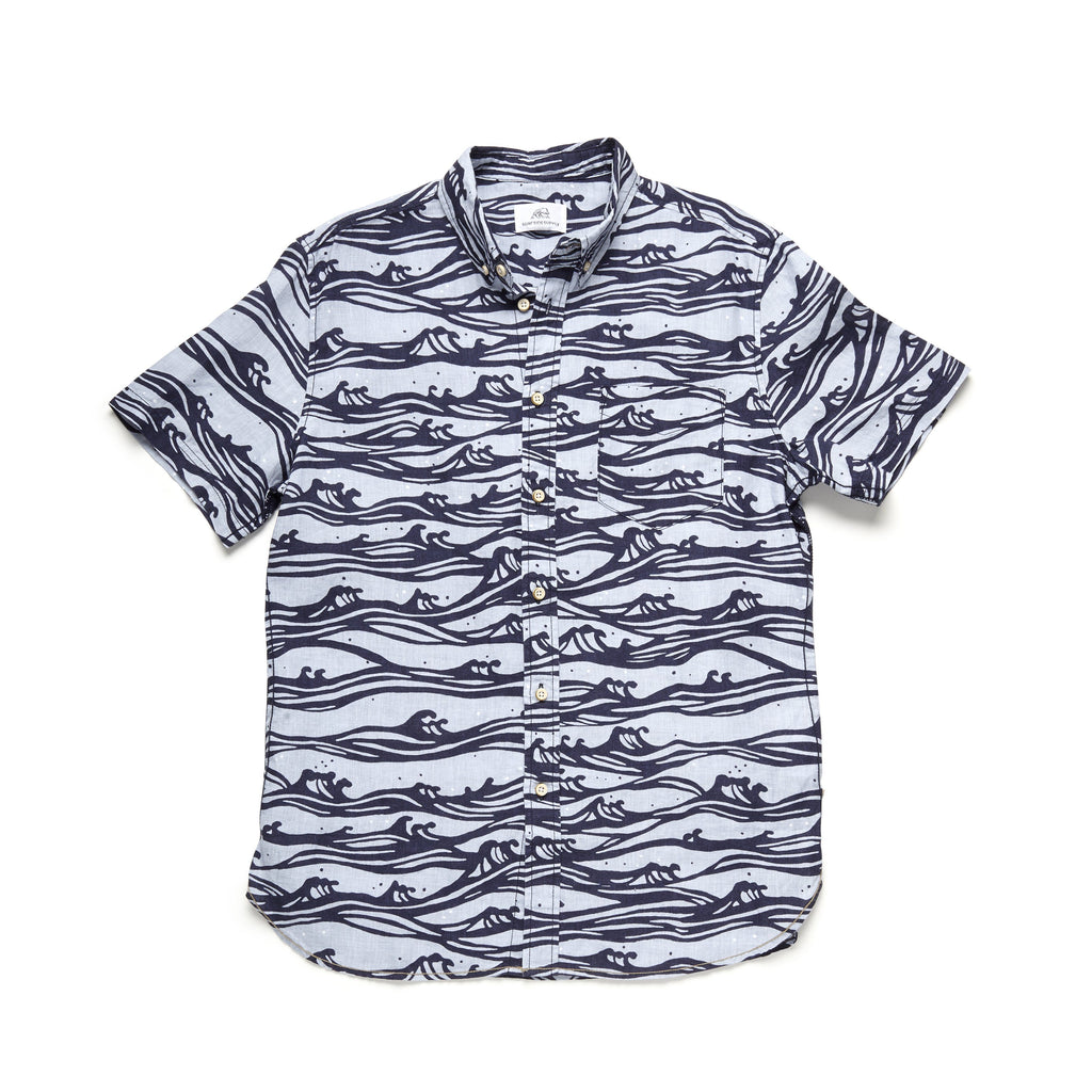 SHIRTS - S/S Linen Wave Print Shirt - Dusty Blue