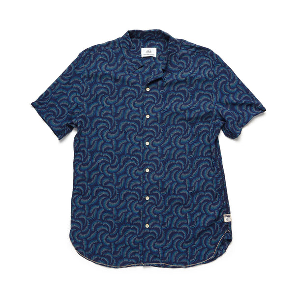 SHIRTS - S/S Ombre Shell Print Rayon Camp Shirt - Monaco Blue