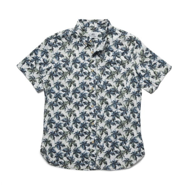 SHIRTS - S/S Palm Print Shirt - Bright White