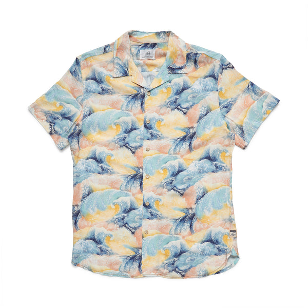 S/S Rainbow Wave Camp Shirt - Rainbow Yellow