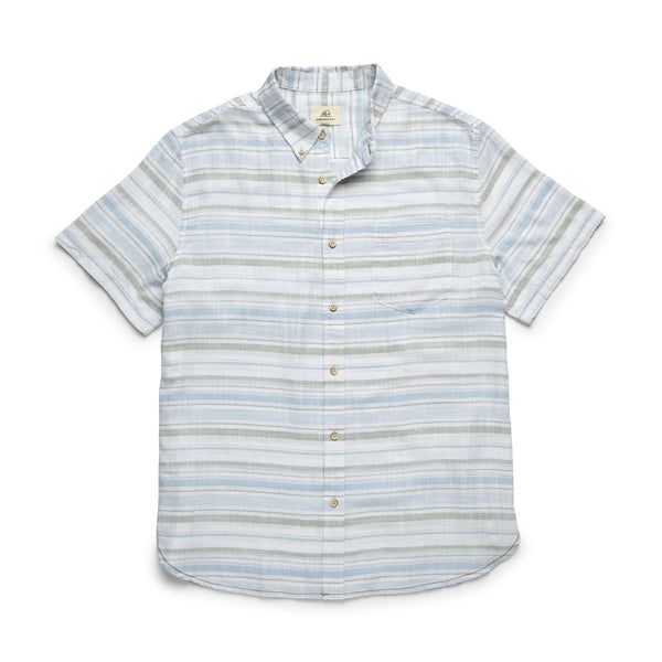 SHIRTS - S/S Slub Cotton Striped Shirt - Basil