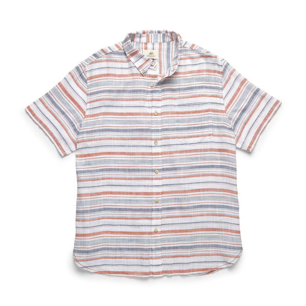 SHIRTS - S/S Slub Cotton Striped Shirt - Koi