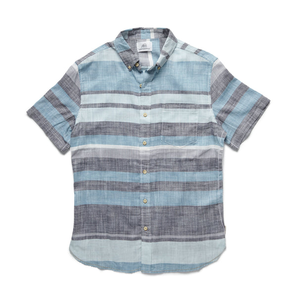 SHIRTS - S/S Striped Plaid Shirt - Turquoise
