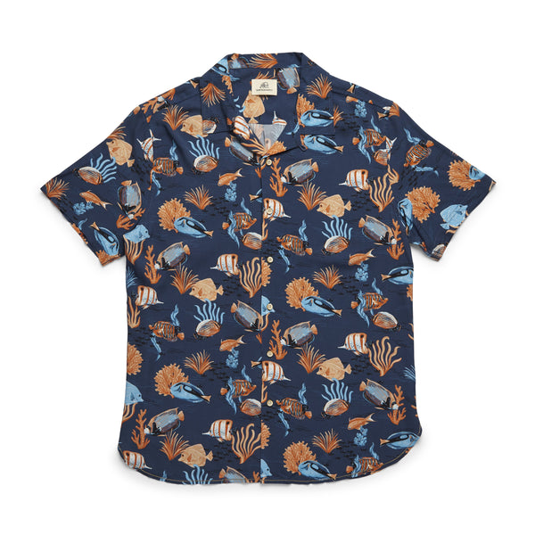 SHIRTS - S/S Tropical Fish Camp Shirt - Navy Blazer
