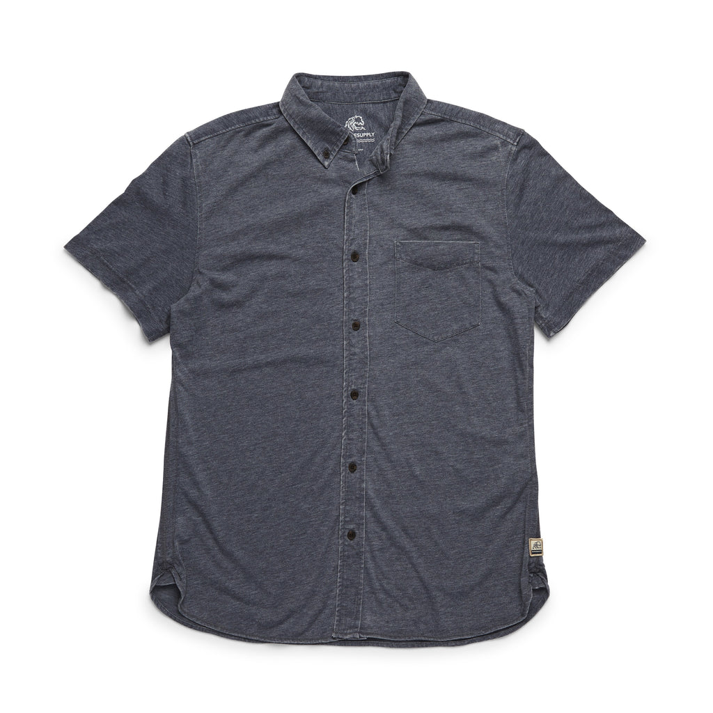 SHIRTS - S/S Washed Knit Shirt - Indigo Blue Heather