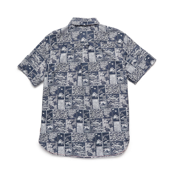 SHIRTS - S/S Wave Block Print Shirt - Navy/White