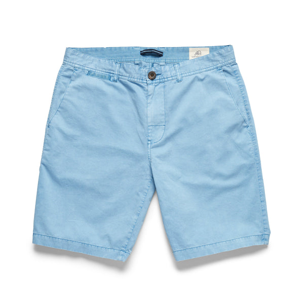 SHORTS - Garment Washed Twill Short - Blue