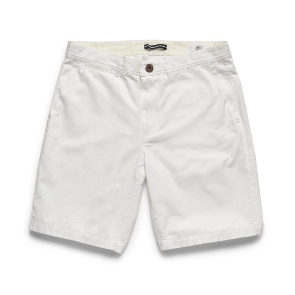 SHORTS - Garment Washed Twill Short - White