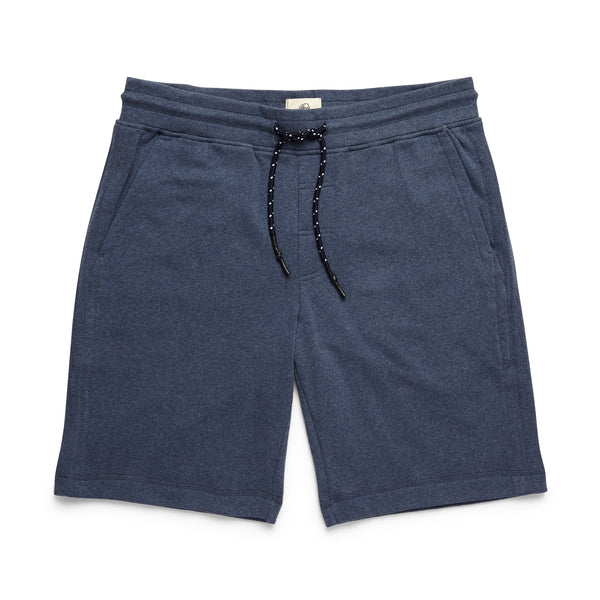 SHORTS - Soft Heather Fleece Drawstring Short - Indigo Blue