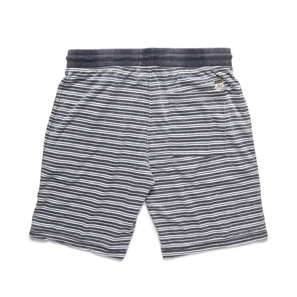 SHORTS - Striped Soft Fleece Short - Navy
