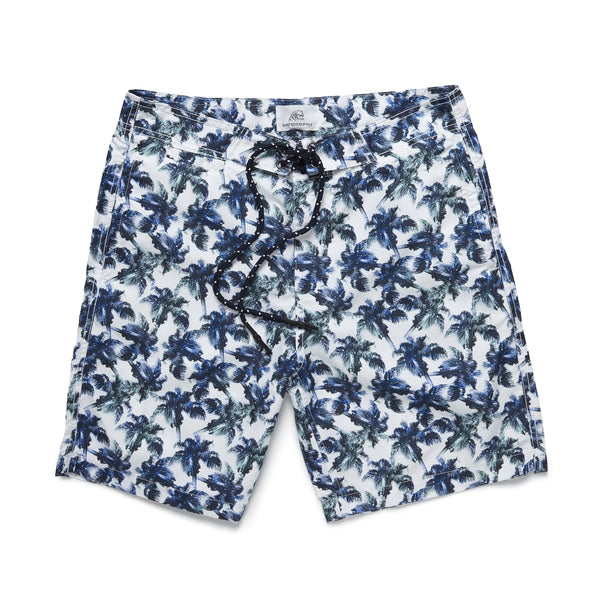 SWIM - Palm Printed Boardshort - Bright White
