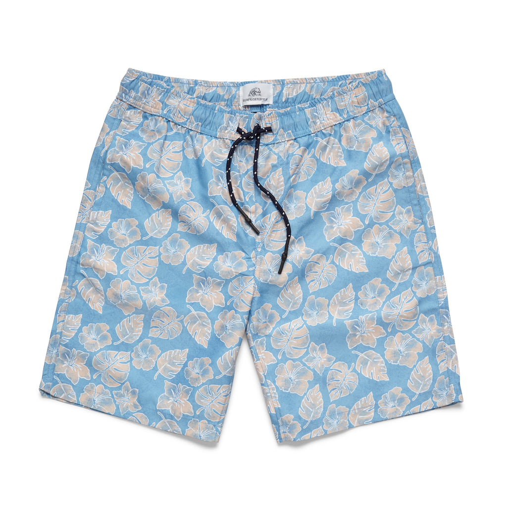 SWIM - Washed Floral Print Lined Volley - Samoan Sun
