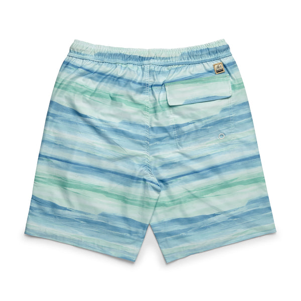 Water Print Lined Volley - Ethereal Blue