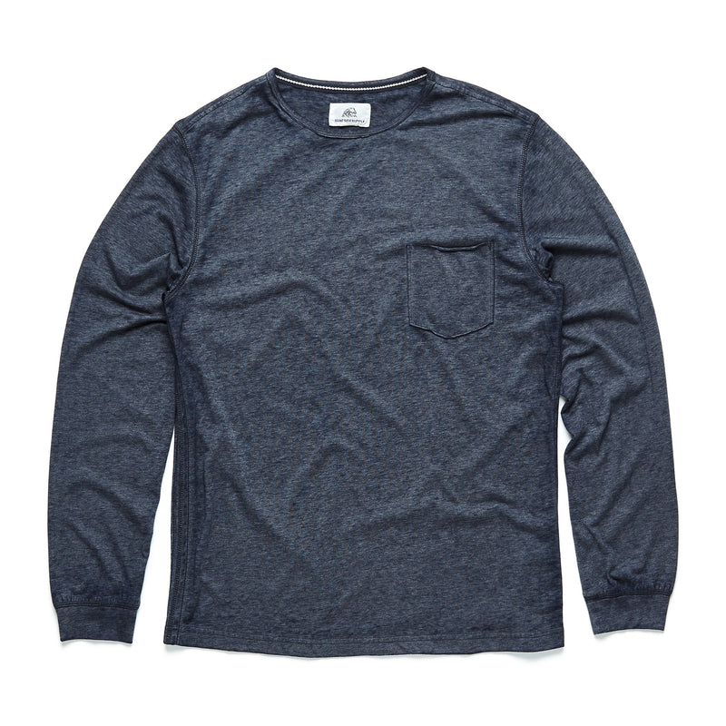 TEES - L/S Raw Edge Pocket Tee - Navy