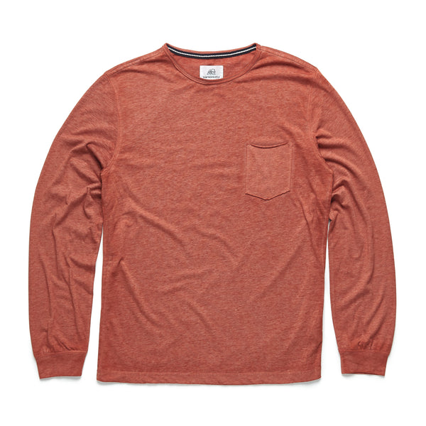 TEES - L/S Raw Edge Pocket Tee - Orange