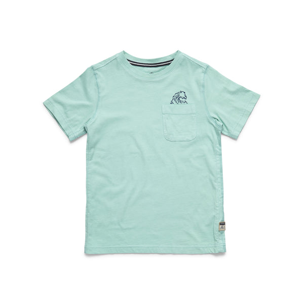 TEES - S/S Boys Waves Graphic Tee - Aruba Blue