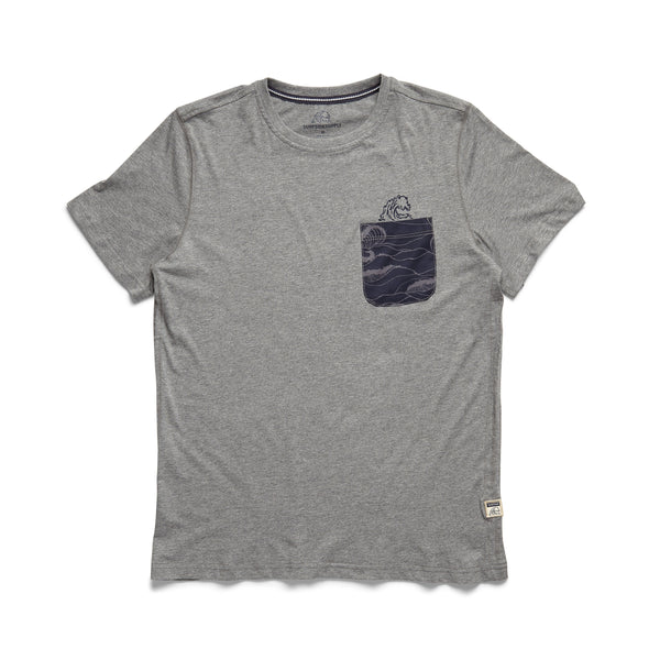 TEES - S/S Printed Wave Pocket Tee - Heather Grey