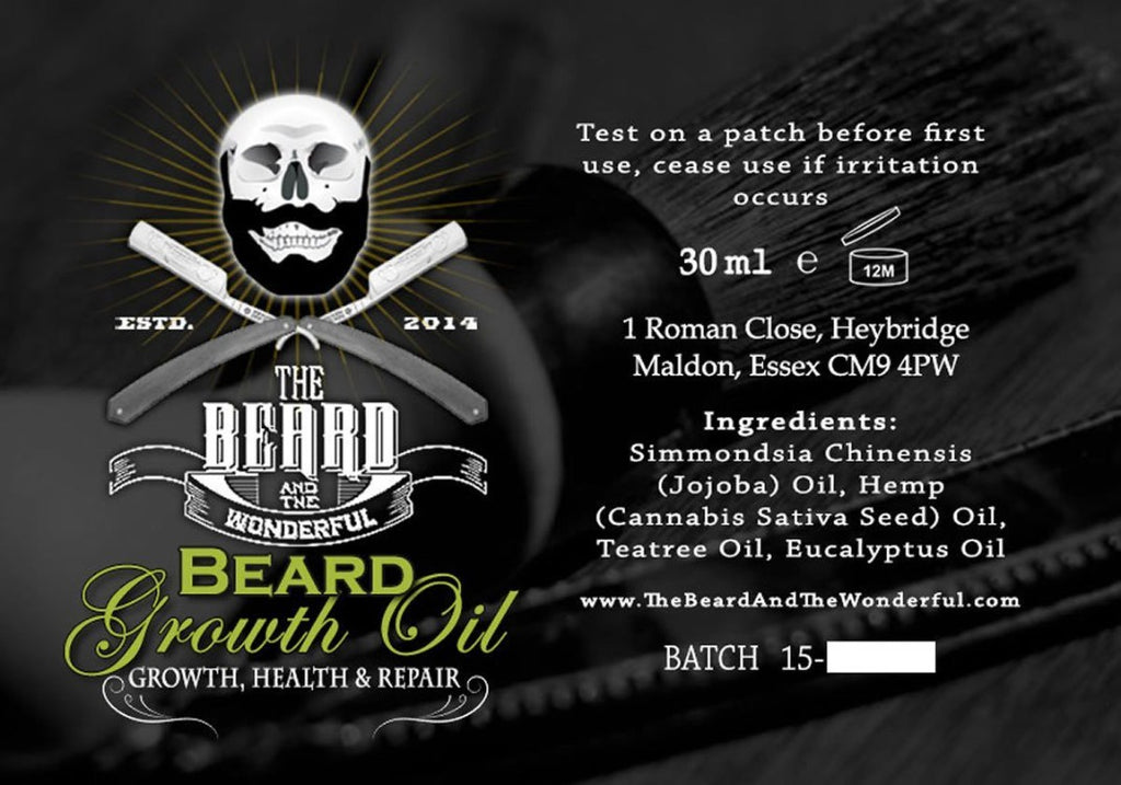Beard Growth Oil 30ml Bottle. The Perfect Blend of Jojoba, Tea Tree, Eucalyptus and Hemp Seed Oils for Growing Beards