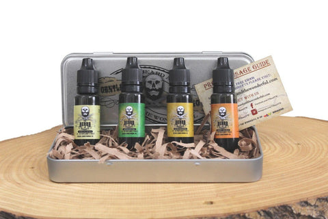 Image of Beard Oil 4 Bottle Giftset Collection Leave-In Premium Conditioning growth oil In Sweet Orange, Eucalyptus, Lemongrass and Original lo-scent