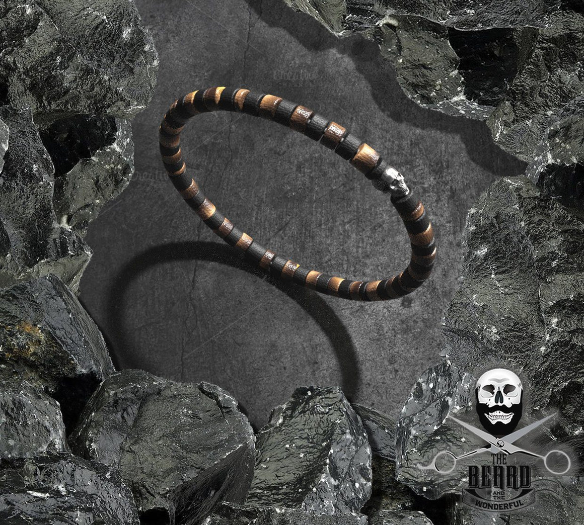 The Beard and the Wonderful Men's Bracelet made with Coconut Beads and Polished metal Skull