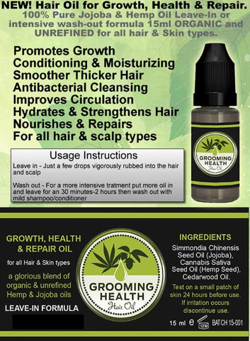 Growth, Health & Repair Hair Oil with Jojoba and Hemp