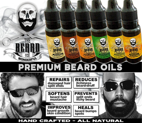 Image of Complete Beard Oil Collection 6 x Bottles Premium Beard Oil In 6 Fragrances