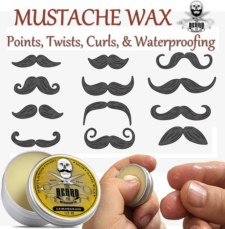 Beard & Mustache Styling Kit. Beard Balm, Beard Oil, Moustache Wax, Mini Comb & Scissors