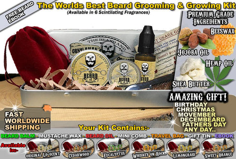 Premium Beard Grooming Kit - Moustache Wax, Beard Oil, Finest Balm, and Beard Mustache Comb