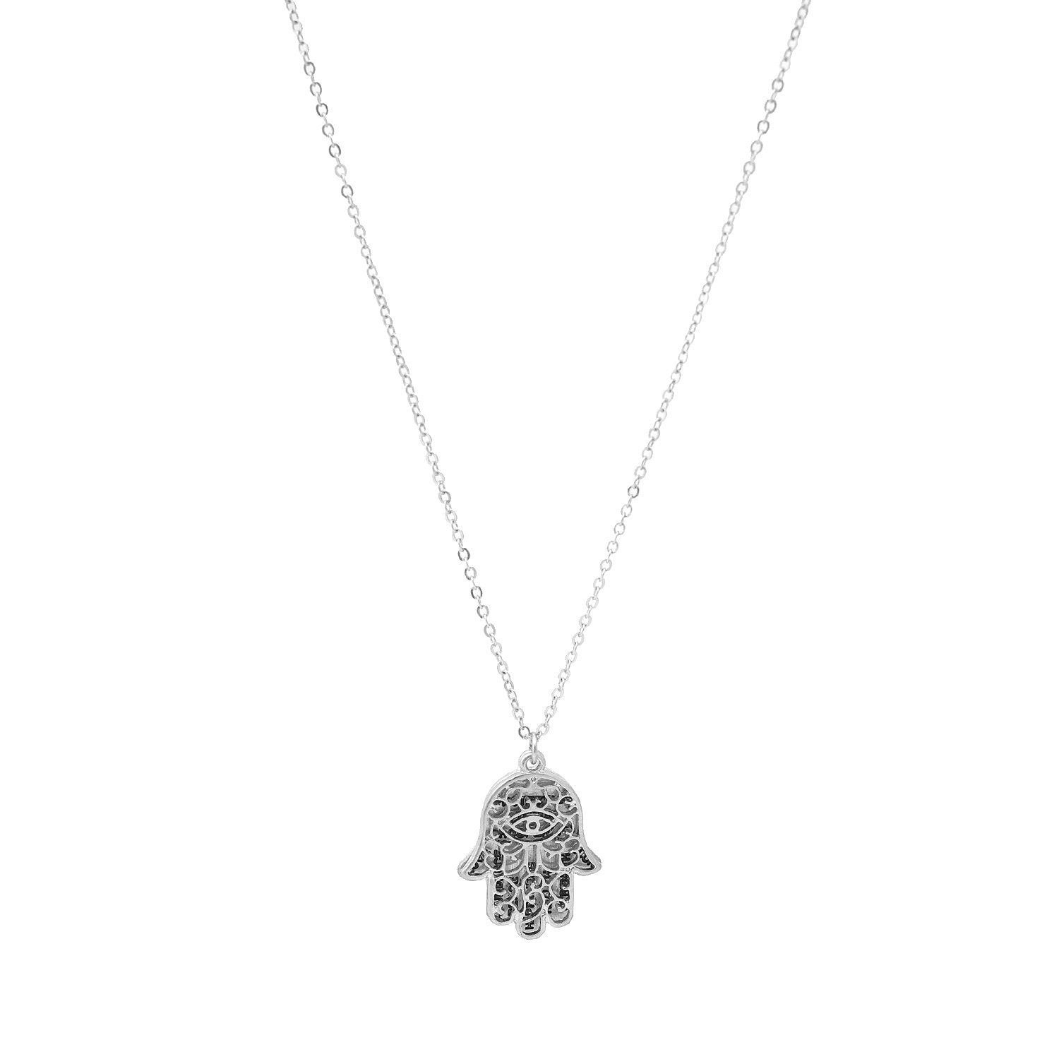 Two Piece Hammered Metal Hamsa Hand with Message Charm Necklace