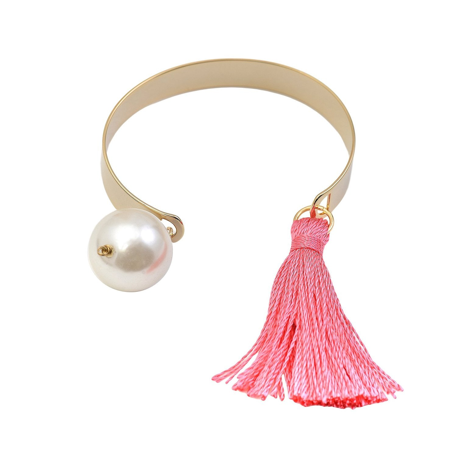 ... Colorful Tassel And Faux Pearl End Band Cuff Bracelet   Spinningdaisy  ...