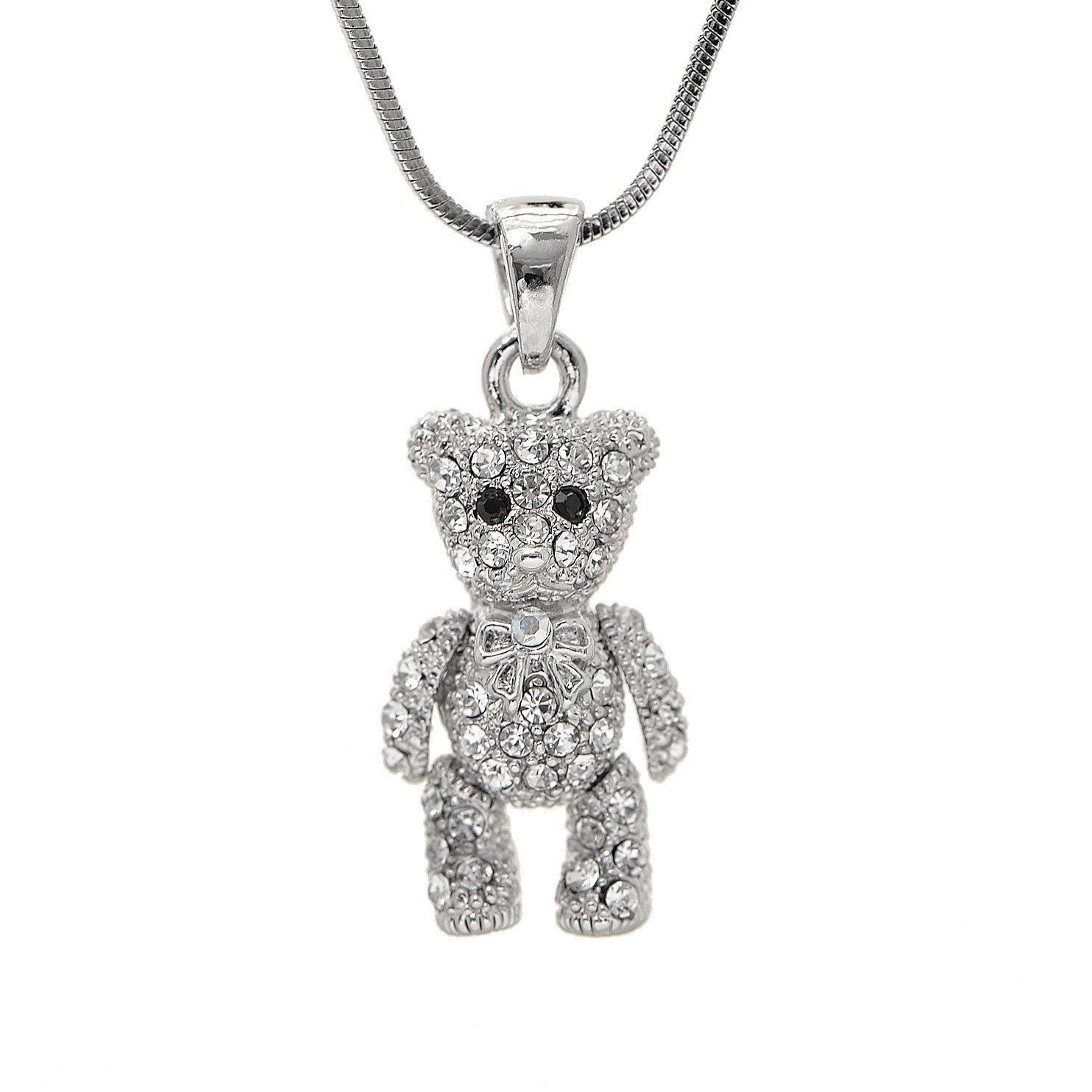 pendant necklace bear silver crystal s claire cute teddy