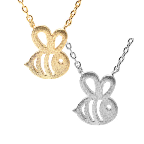Handcrafted Brushed Metal Cut Out Bumble Bee Necklace - Spinningdaisy - 1