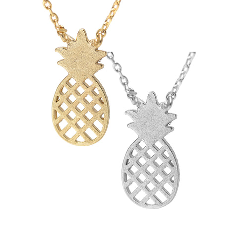Handcrafted Brushed Metal Pineapple Fruit Necklace - Spinningdaisy - 1