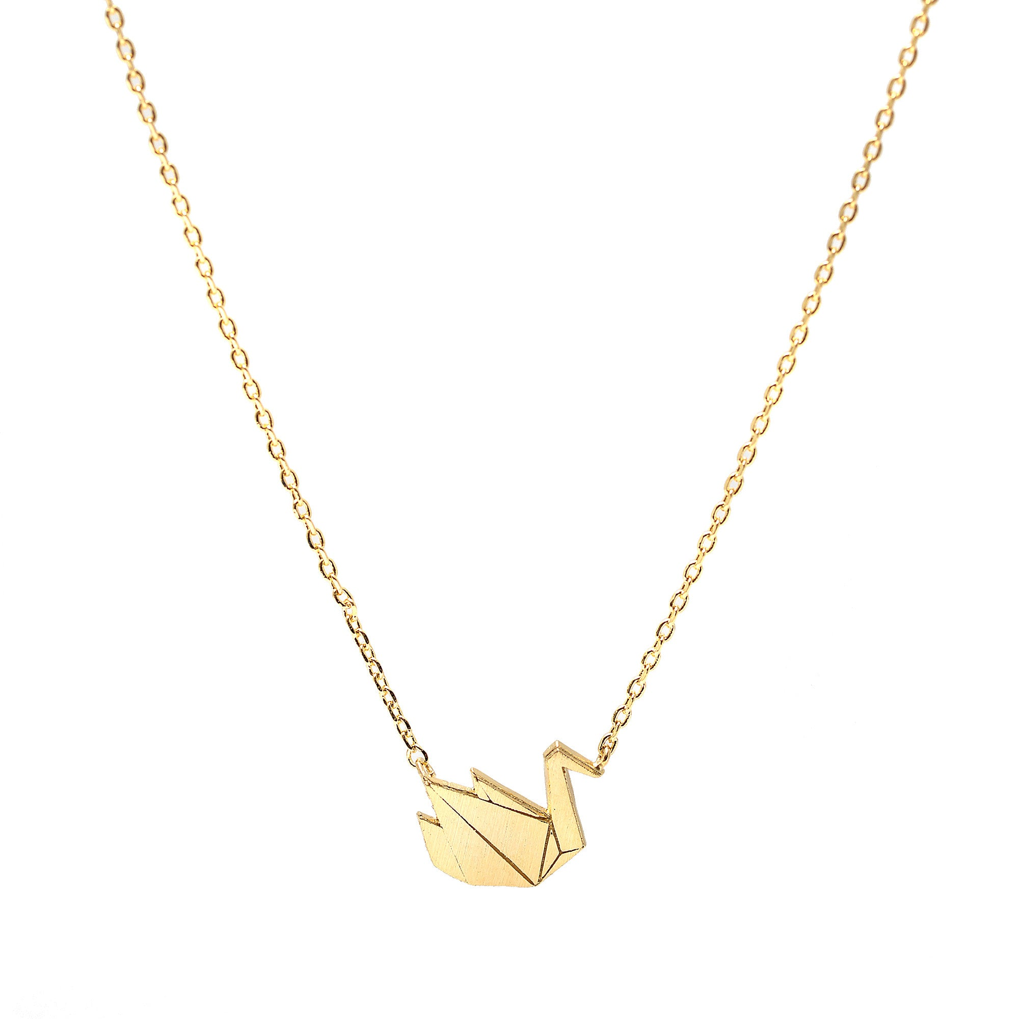 63fe048be82bf Handcrafted Brushed Metal Origami Crane Necklace