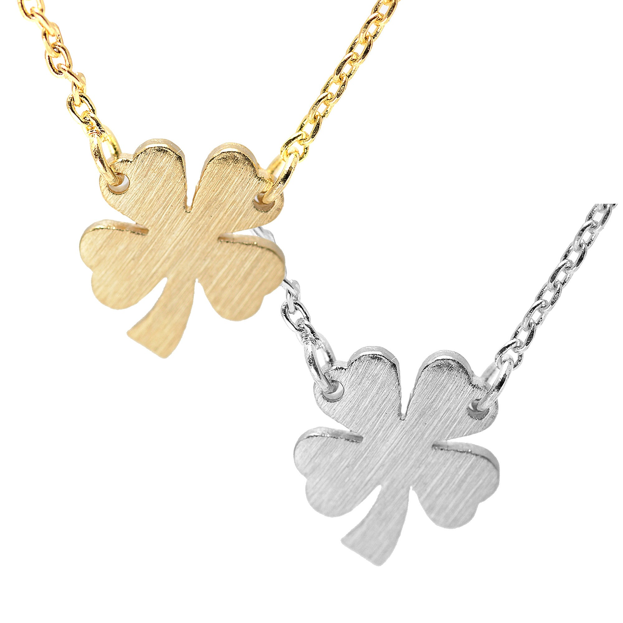 round silver leaf necklace clover zirconia cubic choose sterling itm color