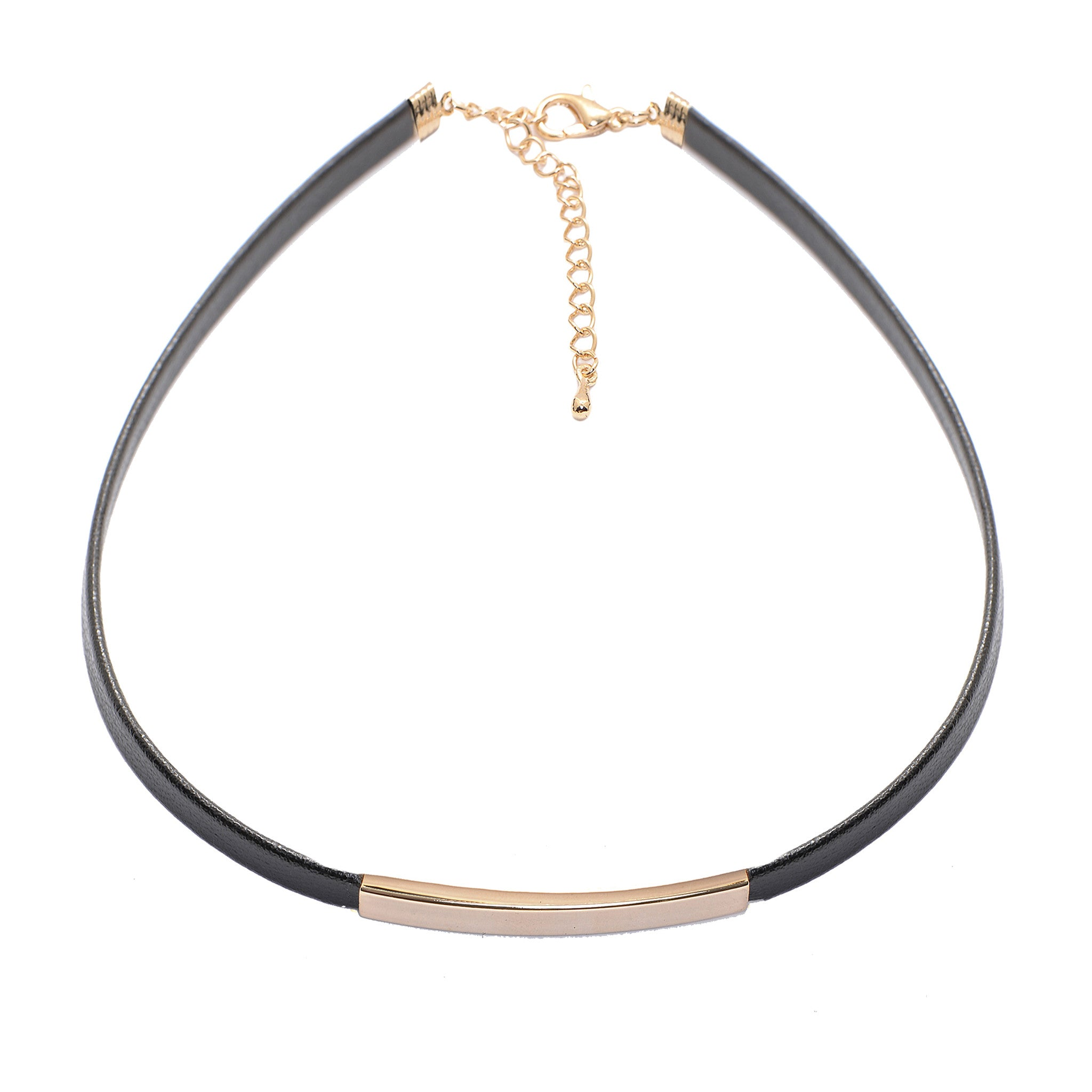 8acc93a4f2ceb Sliding Bar with Skinny Black Leather Choker Necklace
