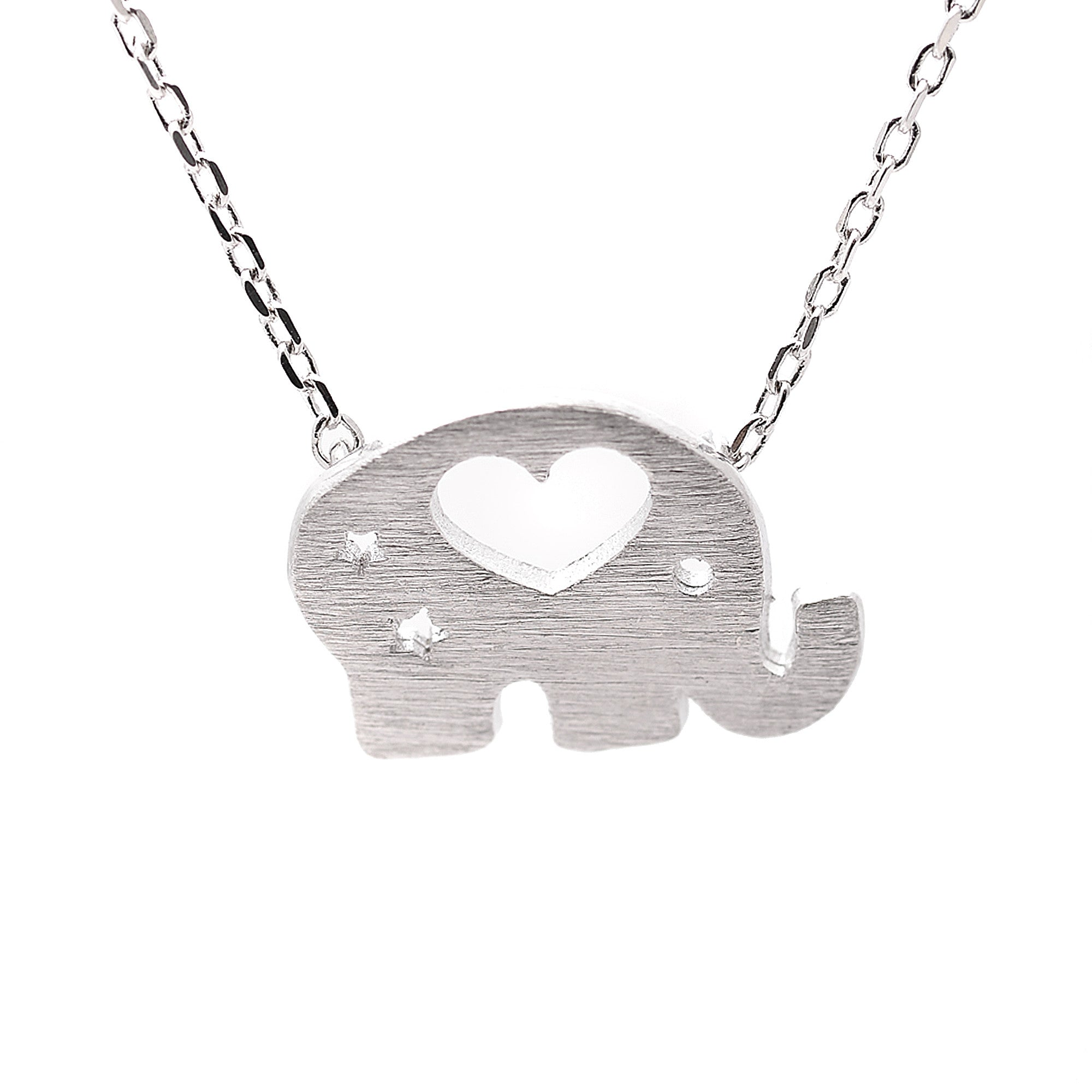 Sterling Silver Brush Metal Cut Out Heart Elephant Necklace