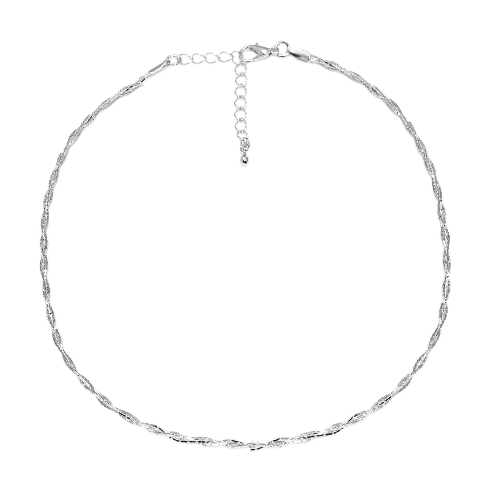 b488d9edcb001 Diamond Cut Skinny Weaved Choker Necklace