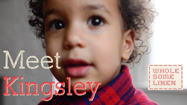 Meet toddler Kingsley and his first Tiny Pillow by Wholesome Linen